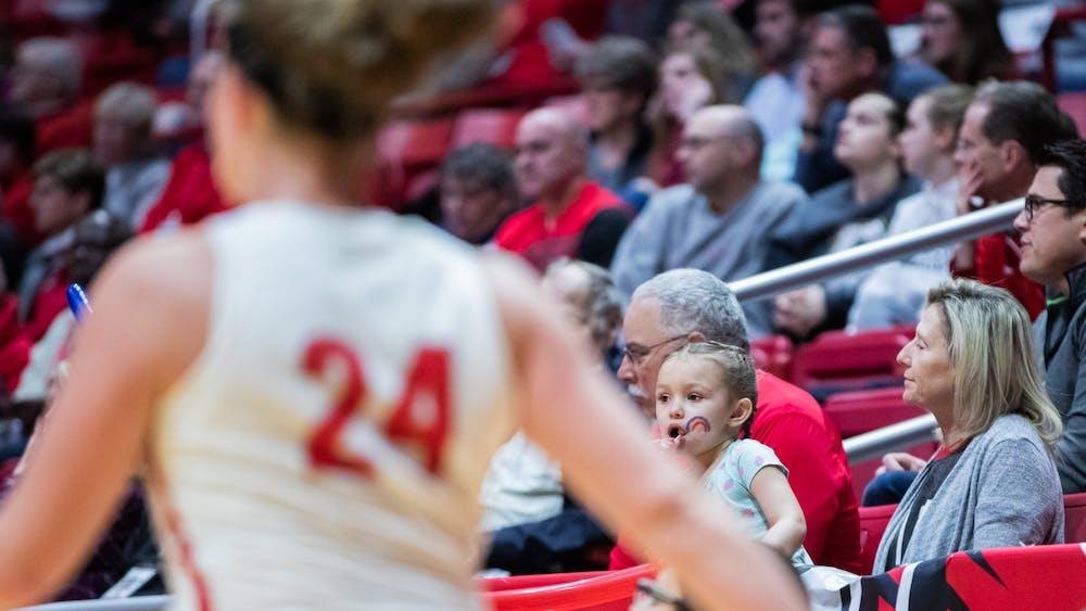 A young fan watches as Graduate student guard Jasmin Samz runs back after making a basket, Jan. 25, 2020, in John E. Worthen Arena. Ball State beat Miami of Ohio 80-63. Jacob Musselman, DN