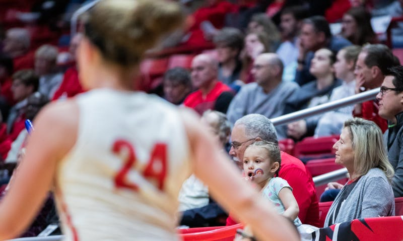 A young fan watches as Graduate student guard Jasmin Samz runs back after making a basket, Jan. 25, 2020, in John E. Worthen Arena. Ball State beat Miami of Ohio 80-63. Jacob Musselman, DN
