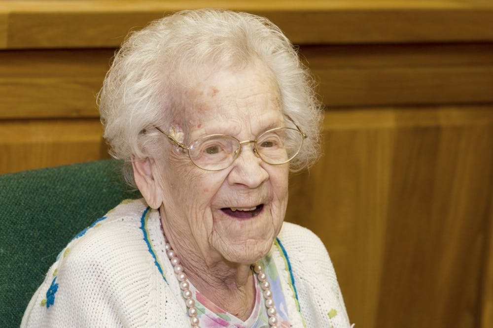 <p>GladysCulver,105, lived inLucina Hall 85 years ago.Culver had the chance to reconnectand inspire different generations of educators with her teaching career. <em>PHOTO COURTESY OF BALL STATE</em></p>