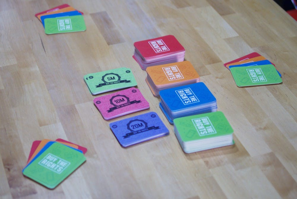 <p>Buy the Rights is a party game created by four Hoosiers with Ball State connections. The&nbsp;creators&nbsp;are hoping to&nbsp;start&nbsp;manufacturing the game for a wider audience.&nbsp;<em>PHOTO PROVIDED BY TOMMY DAY</em></p>