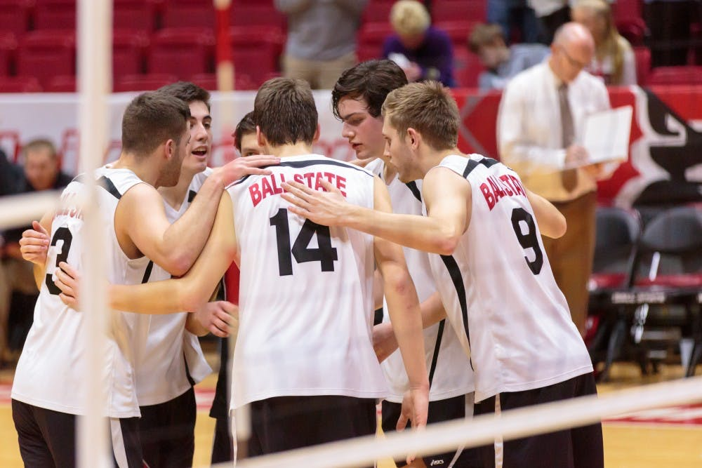 The Ball State Men's Volleyball team huddles up during the game against Fort Wayne on Feb. 7 in Worthen Arena. The Cardinals won 3-0 against the Mastodons. Kyle Crawford // DN