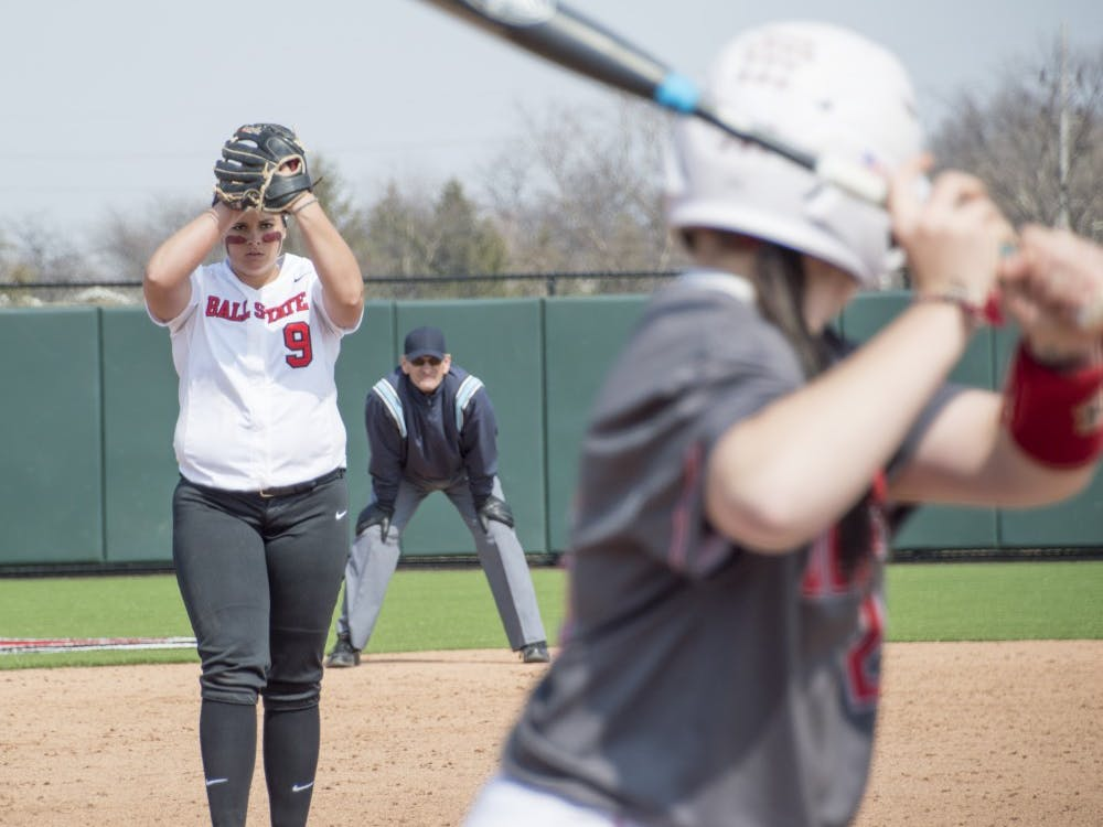 Junior pitcher Nicole Steinbach pitches the ball during the first game of the double header against Western Kentucky at First Merchants Ballpark Complex on March 21. DN PHOTO ALAINA JAYE HALSEY
