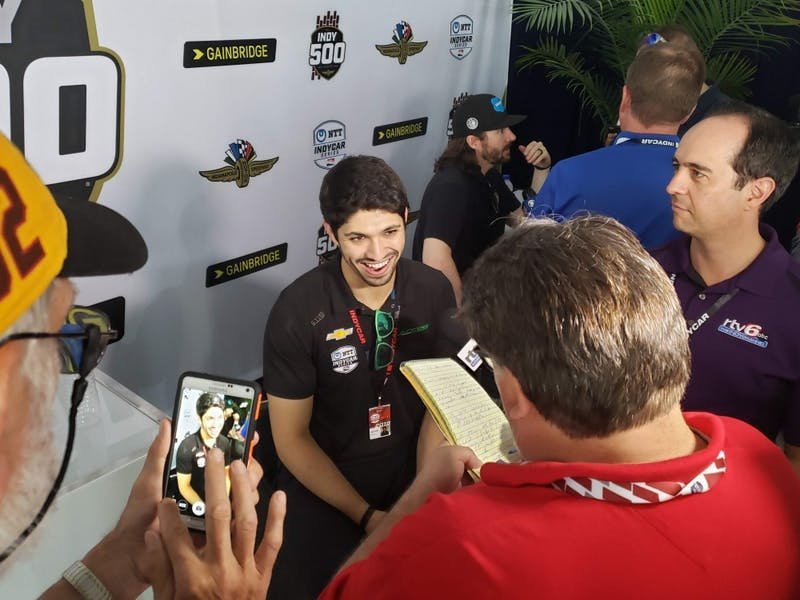 Kyle Kaiser talks with the media in the North Chalet of Pagoda Plaza May 23 for Indy 500 Media Day. Kaiser qualified 33rd for the race just four days earlier. Zach Piatt, DN