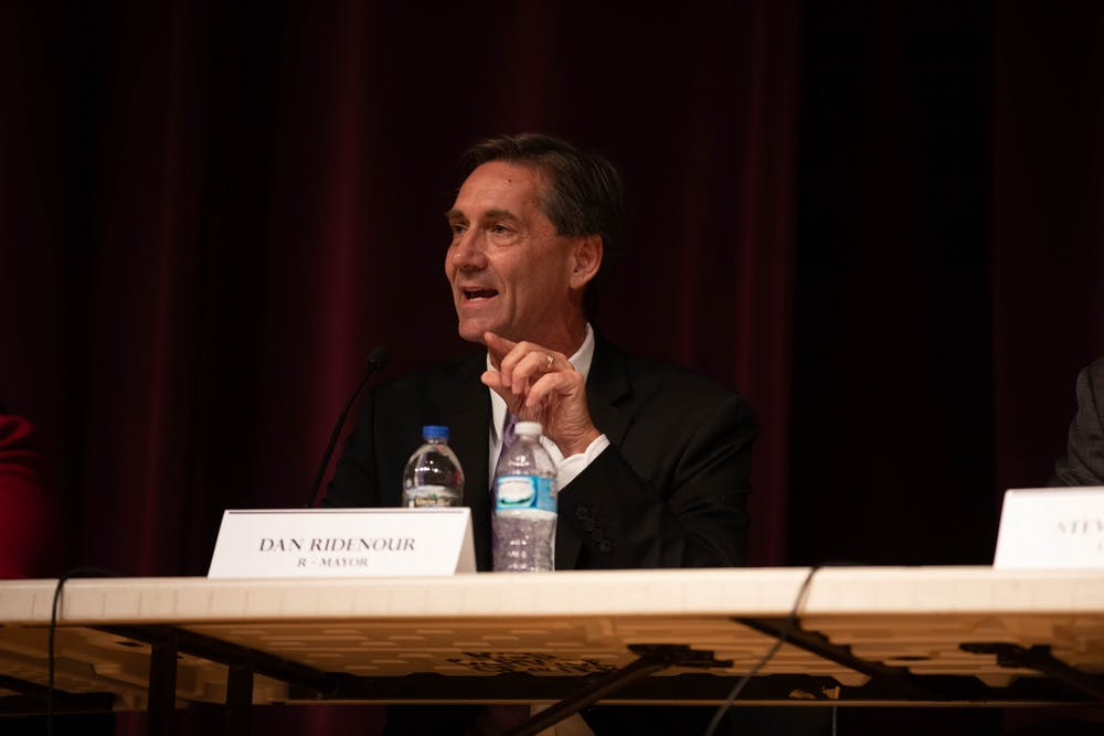 <p>In this Sept. 26, 2019 file photo, then Muncie Mayoral Candidate Dan Ridenour answers audience questions during a mayoral debate at the Muncie Central High School auditorium. Ridenour spoke out June 1, 2020, about the death of George Floyd and the protests surrounding it in his daily community video update. <strong>Jacob Musselman, DN</strong></p>
