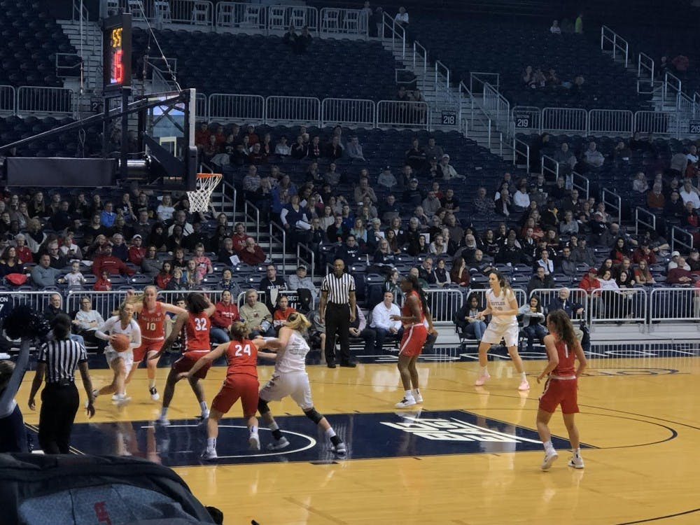<p>The Ball State Women's Basketball team looks to prevent a Butler scoring opportunity in a game at Hinkle Fieldhouse on Dec 2, 2018. The Cardinals lost the game, 65-47. <strong>Gabi Glass,DN</strong></p>