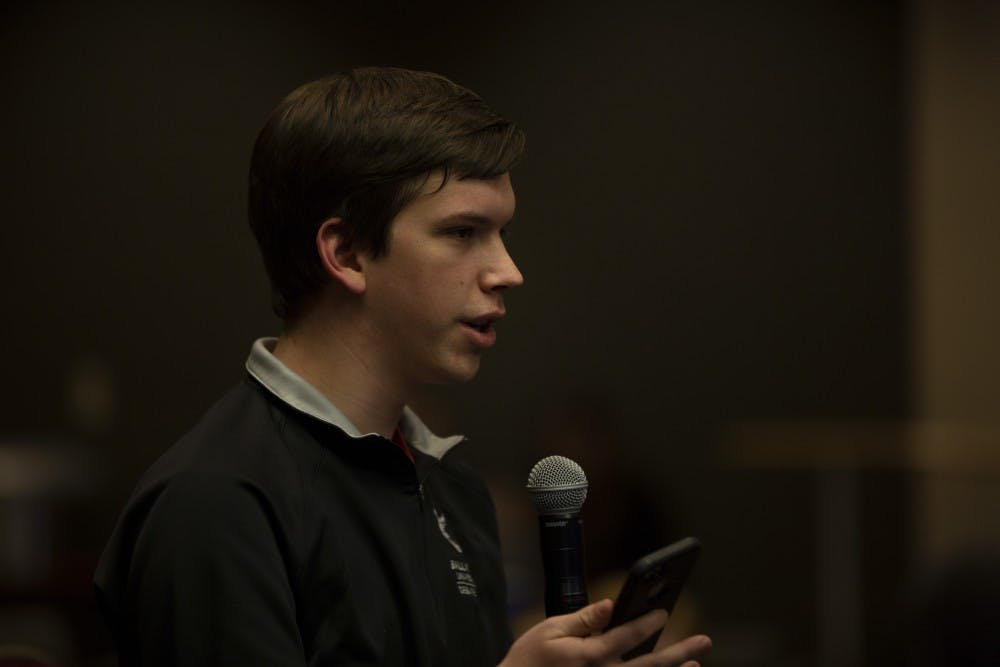 Isaac Mitchell, current Student Government Association (SGA) president of Amplify speaks at the SGA Presidential Town Hall Debate held Feb. 19, 2019, at the Art and Journalism building, room 175. Mitchell ends his term at the end of the 2019 spring semester. Scott Fleener, DN