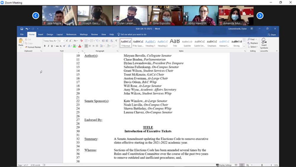 <p>Ball State student government association senators review the amendment to create executive slates for elections at the April 7, 2021, Zoom meeting. The amendment passed by a vote of 31-6, with one abstention. <strong>Maya Wilkins, Screenshot Capture</strong></p>
