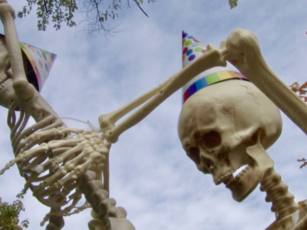 The skeletons at the Crigger house on the corner of Gilbert and Alden were celebrating the skele-baby's birthday on Oct. 24.