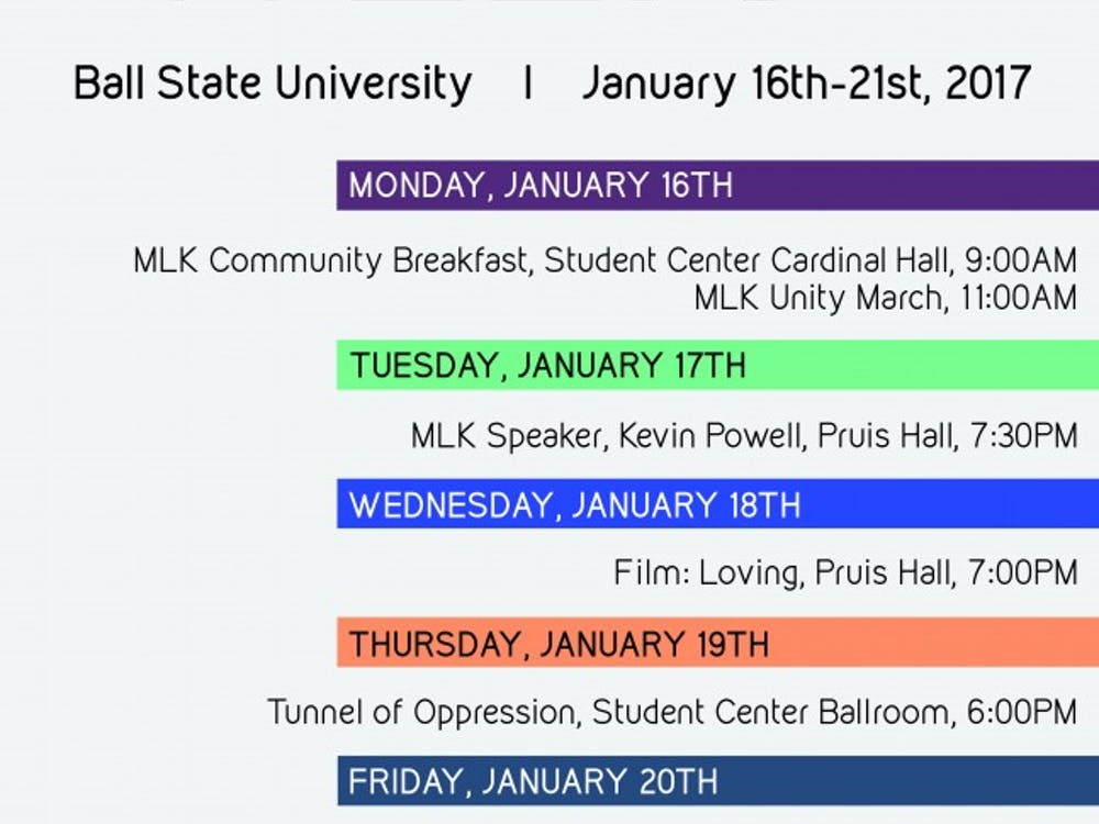 Ball State's Multicultural Center and the Muncie Community MLK Planning Committee will host the 37th annual Unity Week Jan. 16 to 21. The events will focus on diversity, inclusivity and solidarity in a social climate. Ball State Multicultural Center Facebook // Photo Courtesy