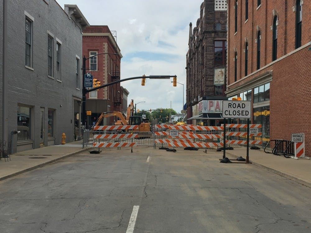 Downtown Muncie is nearing the completion of its months-long construction project, adding ADA compliant sidewalks, parking spots and bike lanes, as well as opening Walnut Street to two-way traffic and improving water drainage. Downtown developers are anticipating increased patronage for businesses who lost money due to the traffic disruption.Mary Freda // DN File