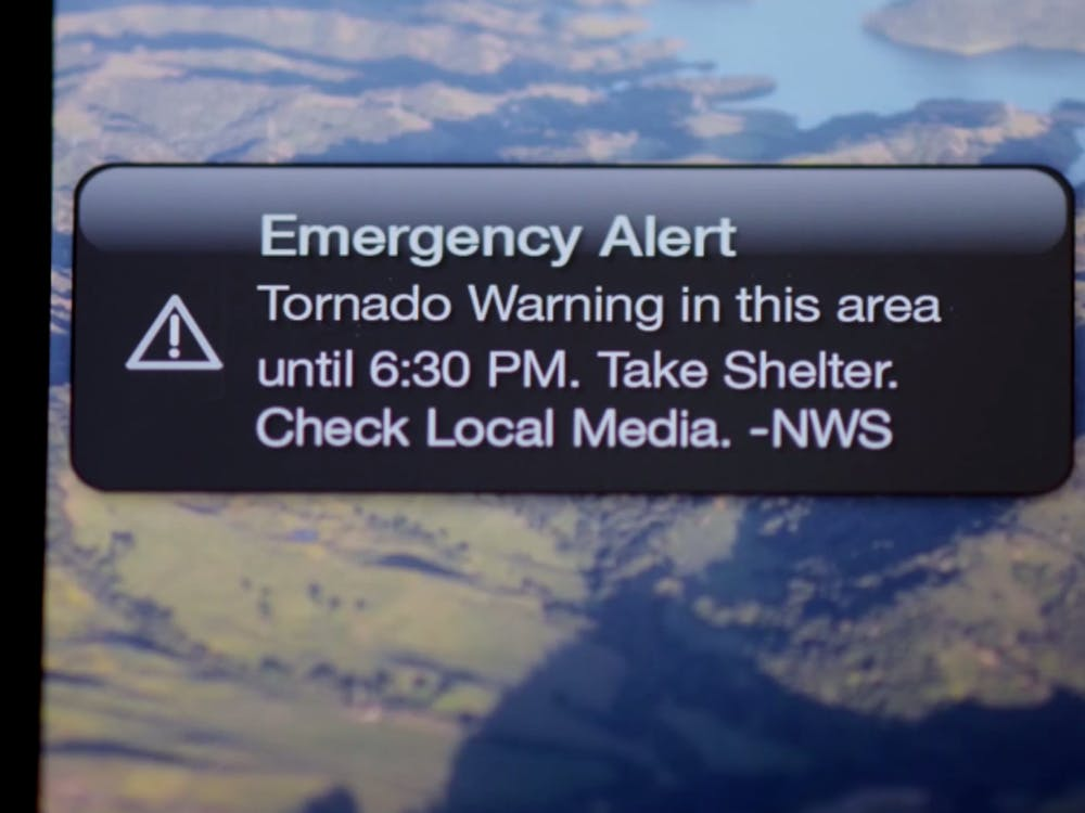 Example of a weather warning as delivered to a mobile device.