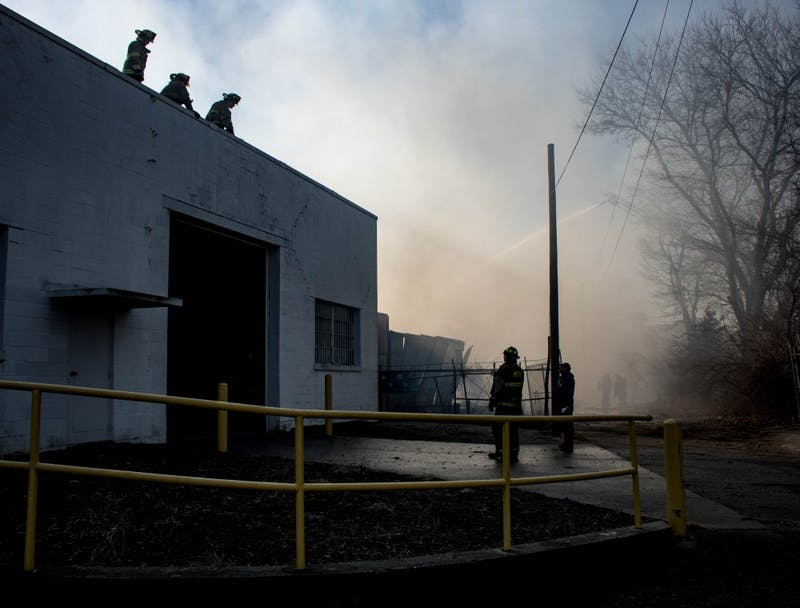 Muncie Fire Department battled a large structure on the 900 block of South Mound Street Jan. 28 in downtown Muncie.