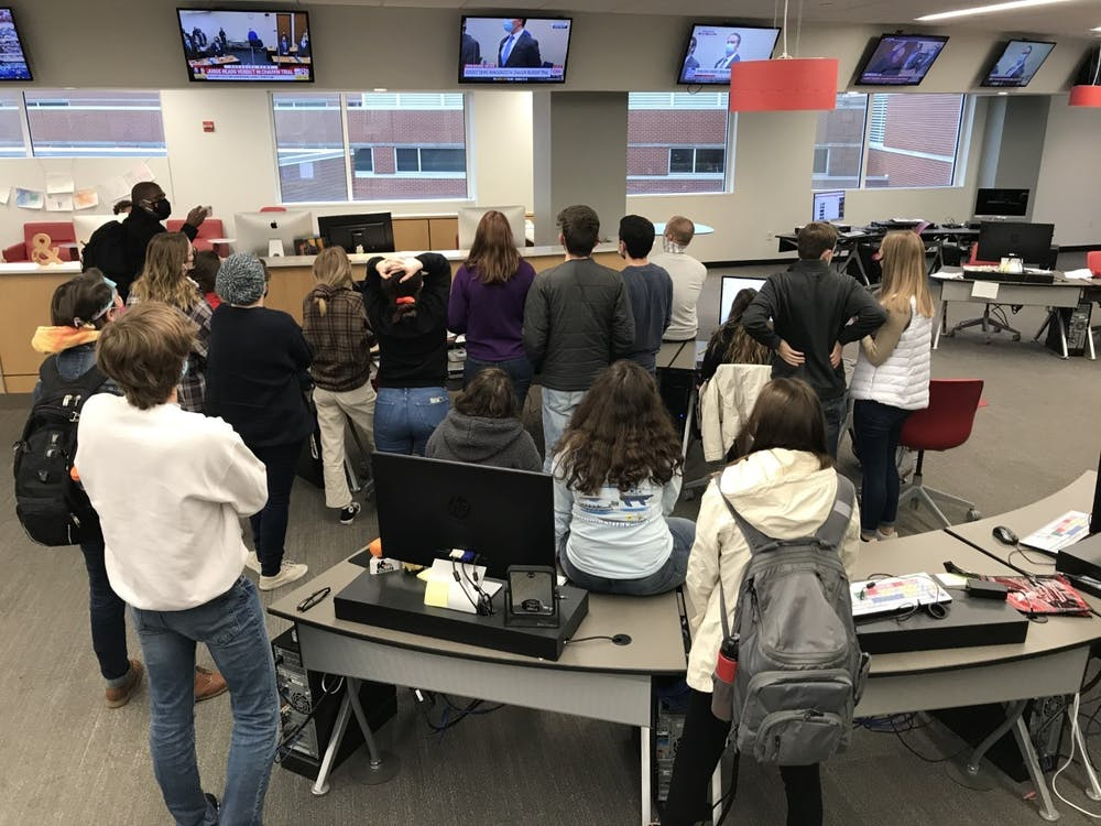 Student journalists watch Chauvin trial verdict April 20, 2021. Chauvin was found guilty of second-degree unintentional murder, third degree murder and second degree manslaughter. Lisa Renze-Rhodes, Photo Provided