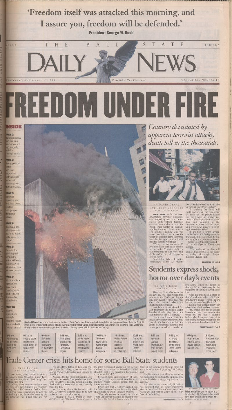 The historical cover of the Sept. 12, 2001, edition of The Ball State Daily News was on display in the Newseum in Washington, D.C., and included in a collection of front cover pages created by the Society of Professional Journalists. The staff of The Daily News reworked the cover more than half a dozen times before sending it to the printer. Ball State Digital Media Repository, Photo Courtesy