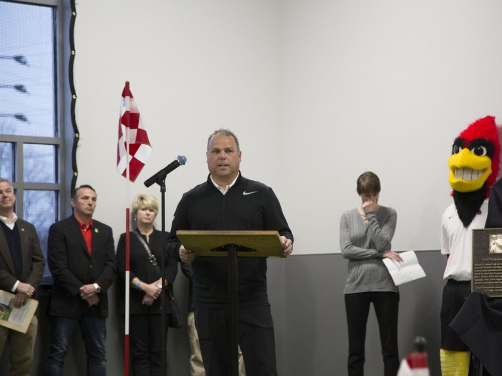 Ball State held a ribbon-cutting ceremony Jan. 27 to introduce the new Earl Yestingmeier Golf Center to the public. The building is a tribute to Earl Yestingsmeier, the patriarch of Ball State golf for more than 50 years.