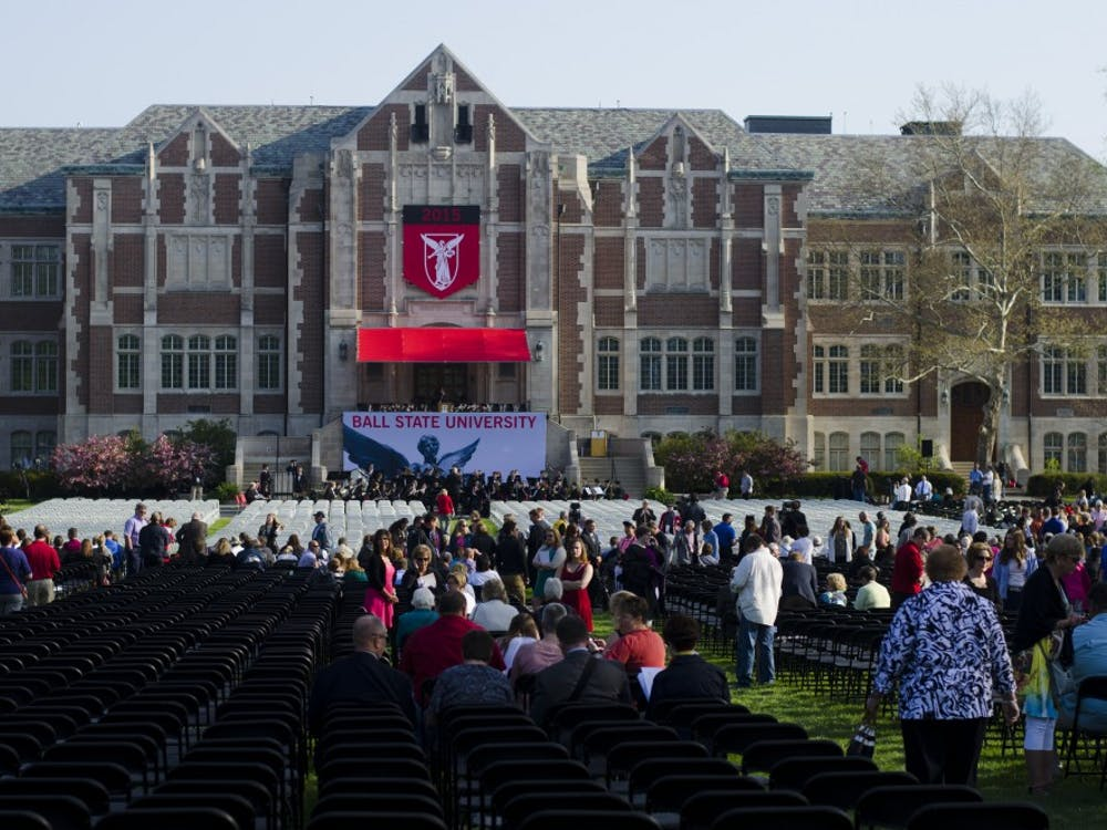 The Spring 2015 Commencement took place on May 2 in the Arts Terrace at Ball State. John Schnatter, founder of Papa John's Pizza was the commencement speaker.