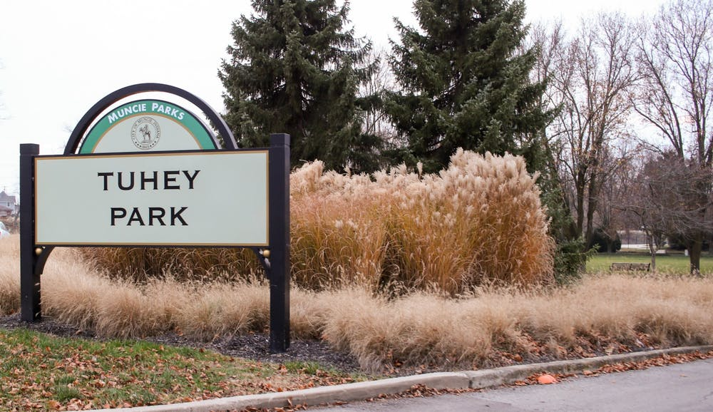 <p>Tuhey Park&#x27;s welcome sign stands at its entrance Dec. 8, 2020, at Tuhey Park. The park sits in the Riverside nieghborhood just off of White River. <strong>Maeve Bradfield, DN</strong></p><p></p>