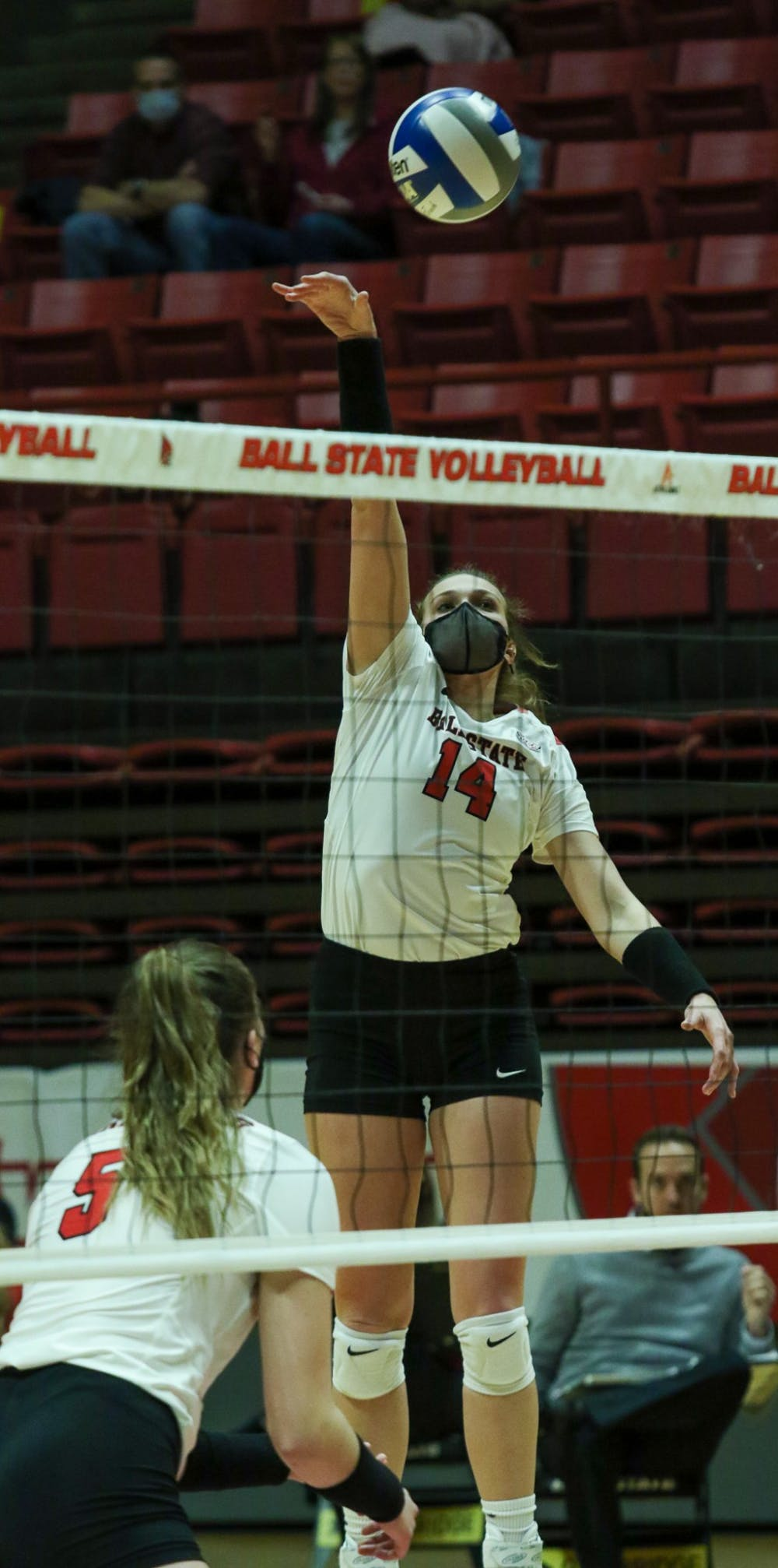 <p>Senior outside hitter Kia Holder hits the ball. The Cardinals fell to the Chippewas 3-1. <strong>Gabi Kramer, DN</strong></p>