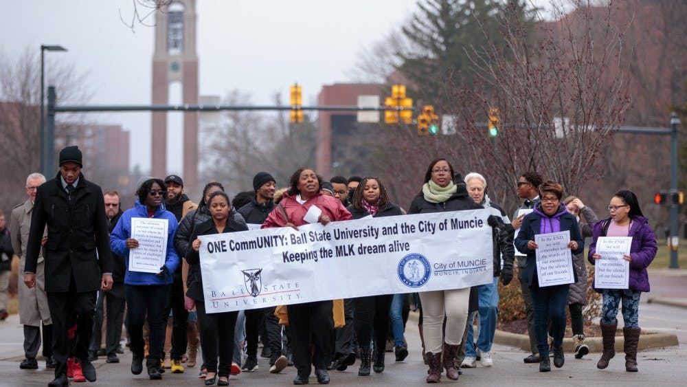 Ball State students and Muncie community members march on McKinley Avenue for the Unity March, Jan. 16, 2017. This year's Unity March is scheduled to take place Jan. 20, 2020. Kyle Crawford, DN File