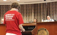 Lynn Hale, co lead of the Muncie Chapter of Moms Demand Action for Gun Sense in America, speaks at the Muncie City Council meeting July 1, 2019, at Muncie City Hall. The council passed a resolution 8-0 encouraging stricter background checks. Rohith Rao, DN