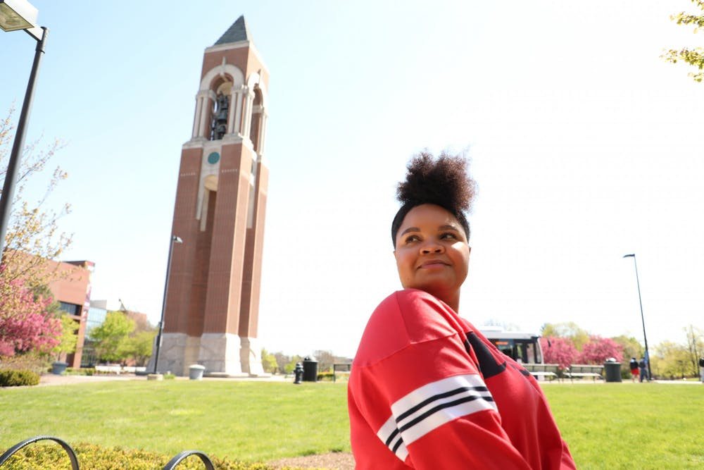<p>Senior interpersonal communications major Lauren Reynolds poses for a picture outside the David Letterman Building April 26, 2021. Reynolds is graduating with a minor in African American Studies. <strong>Rylan Capper, DN</strong></p>