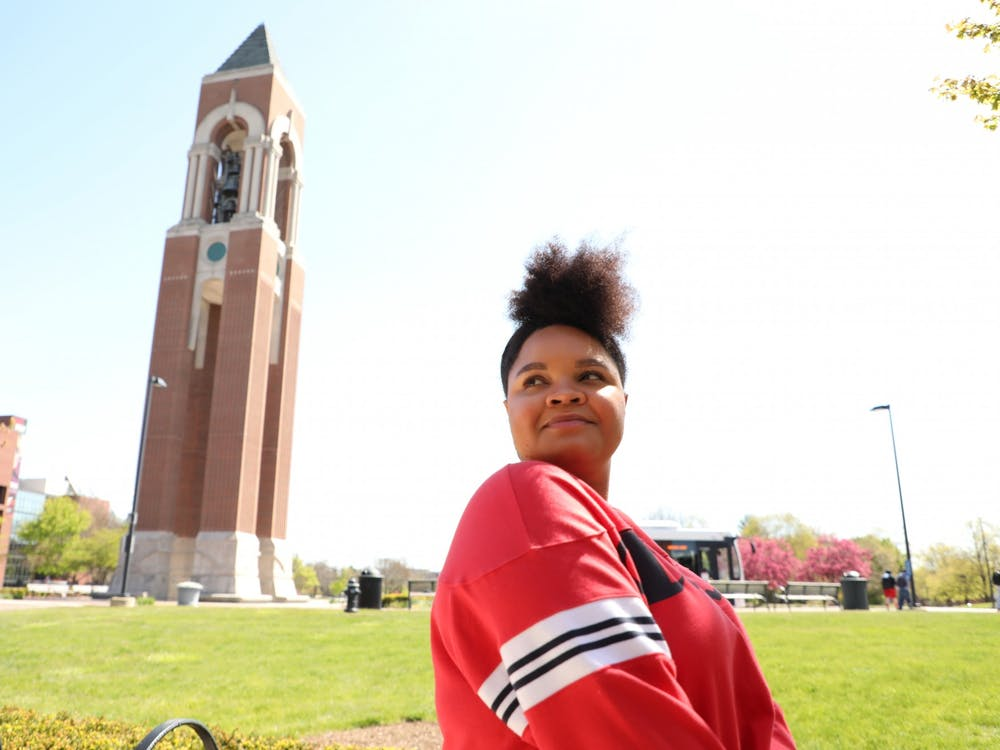Senior interpersonal communications major Lauren Reynolds poses for a picture outside the David Letterman Building April 26, 2021. Reynolds is graduating with a minor in African American Studies. Rylan Capper, DN