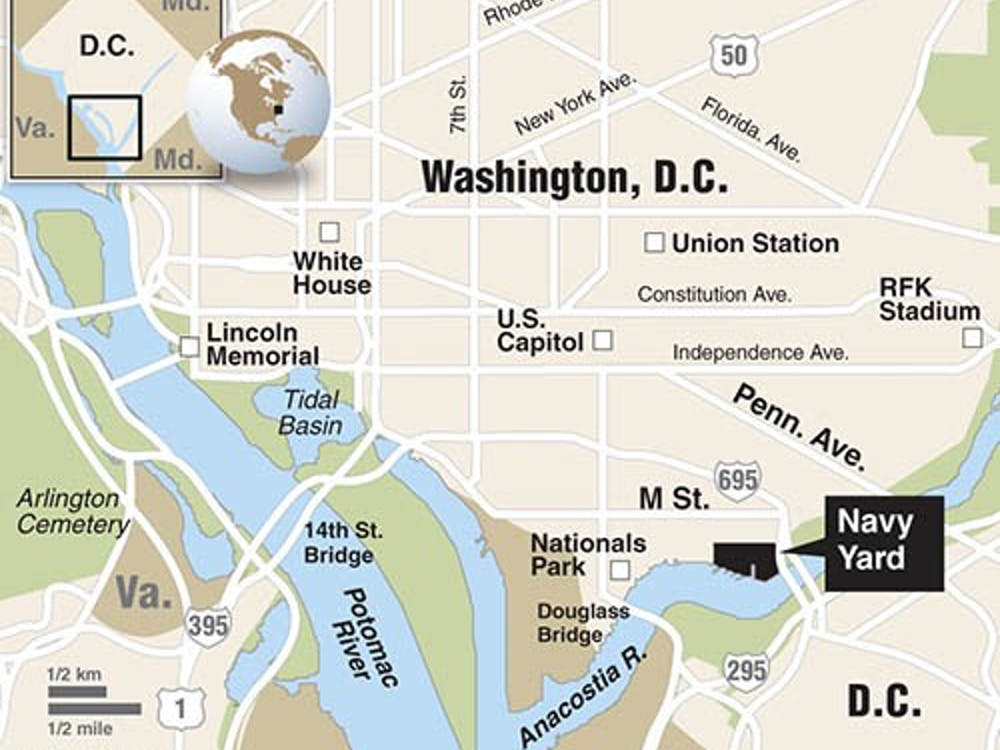 Washington, D.C., street map showing location of the U.S. Navy Yard, site of gunman attack. MCT 2013<p>With BC-NAVYYARD-SHOOTING:LA, Los Angeles Times by Amy Hubbard