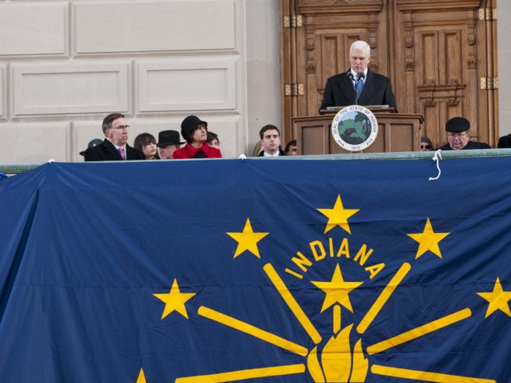 Gov. Mike Pence gives his inaugurual address in January 2013. The governor gave his State of the State address Tuesday and discussed his vision and goals for 2015. DN PHOTO FILE BOBBY ELLIS