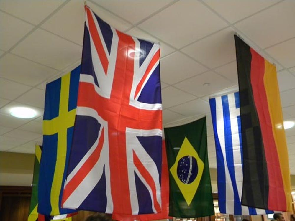 Flags from around the world hang above a study abroad fair held in the Atrium. The fair offers information and advice to students wishing to experience life in other countries. DN FILE PHOTO Logan Winslow