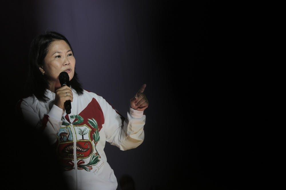 The candidate for the Presidency of Peru, Keiko Fujimori, of the Popular Force party, speaks before her supporters during the closing of the campaign for the second presidential round on June 6, at the Las Palomas oval in the district of Villa El Salvador, in Lima, Peru, on June 3, 2021. (John Reyes/EFE/Zuma Press/TNS) * USA and Canada English Language Rights Only *