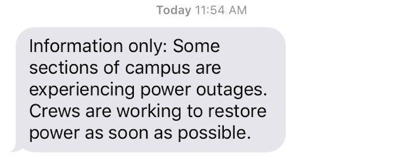 Power restored on campus