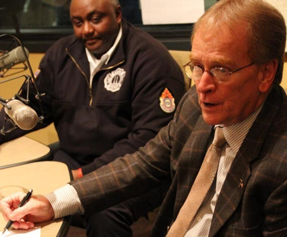 Mayor Dennis Tyler and Chief of Police Steve Stewart sits down with talk show host David Boulton about improvements on the fire department on WCRD Thrusday afternoon. DN PHOTO EMMA FLYNN