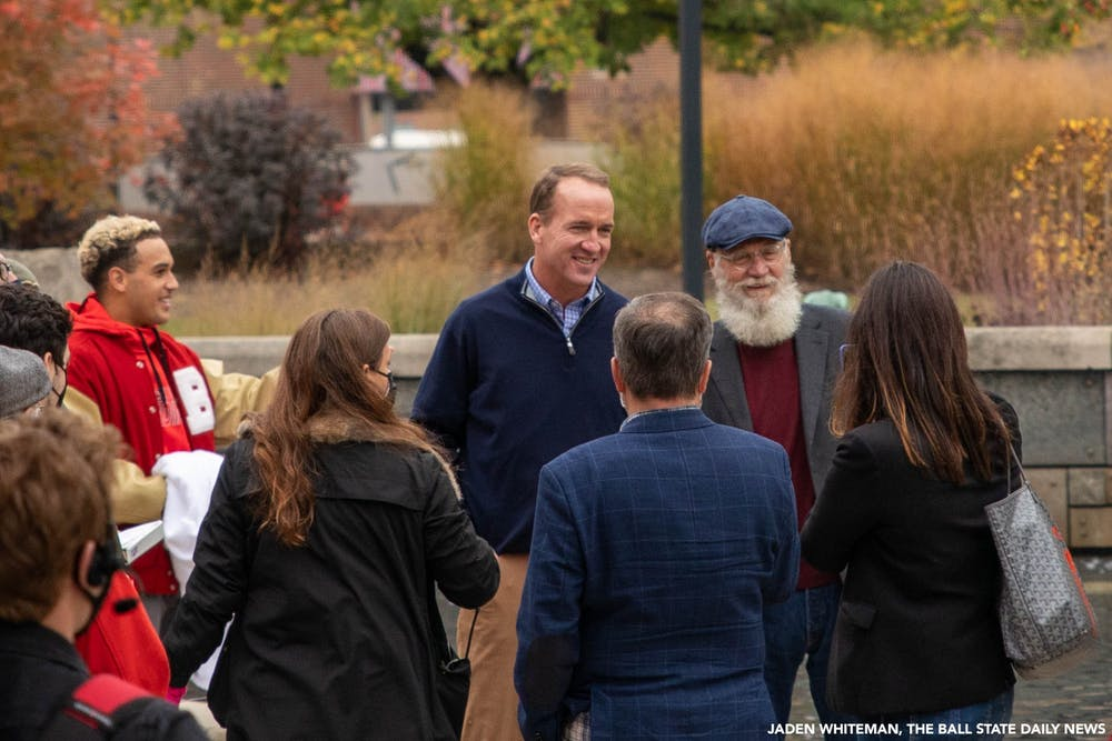 <p>Former Indianapolis Colts quarterback Peyton Manning and Ball State Alumnus David Letterman pose for a photo Oct. 20, 2020, at Ball State University. Ball State Alumnus David Letterman and former Indianapolis Colts quarterback Peyton Manning were seen filming on campus by Frog Baby and at Scheumann Stadium for an episode of &quot;Peyton&#x27;s Places.&quot; <strong>Jaden Whiteman, DN</strong></p>