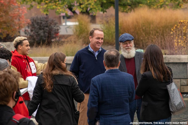 "Former Indianapolis Colts quarterback Peyton Manning and Ball State Alumnus David Letterman pose for a photo Oct. 20, 2020, at Ball State University. Ball State Alumnus David Letterman and former Indianapolis Colts quarterback Peyton Manning were seen filming on campus by Frog Baby and at Scheumann Stadium for an episode of ""Peyton's Places."" Jaden Whiteman, DN"