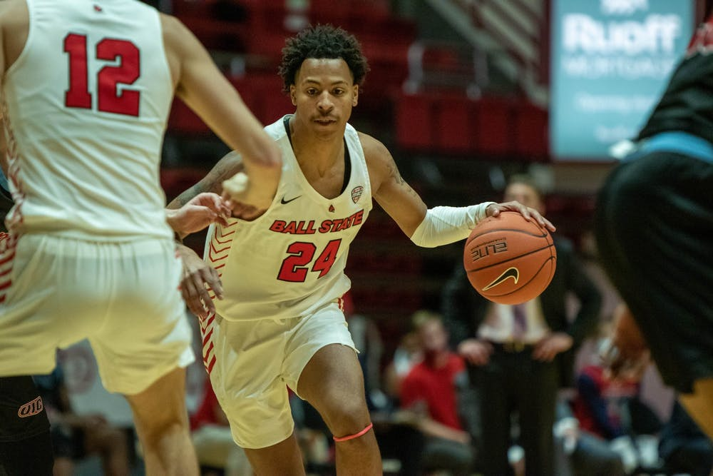 <p>Sophomore guard Jalen Windham dribbles the ball  Dec. 5, 2020, in Worthen Arena. Windham scored 2 points against the Flames. <strong>Jaden Whiteman, DN</strong></p>