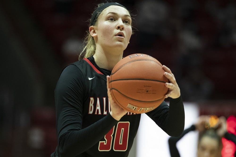 Cardinals redshirt sophomore guard Anna Clephane shoots a free throw during a game against the Central Michigan Chippewas March 3, 2021, at John E. Worthen Arena. The Cardinals lost 87-81 in double overtime. Jacob Musselman, DN