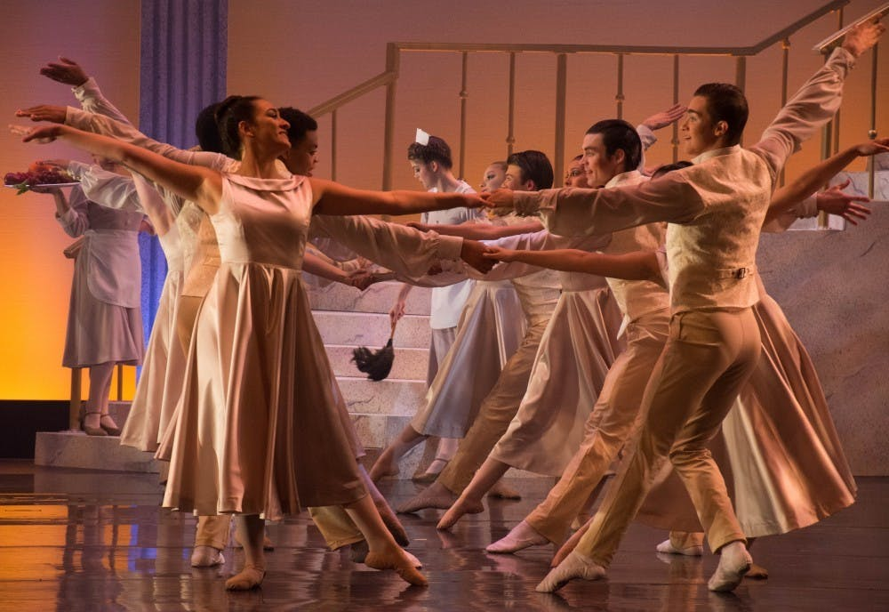 <p>Cast members rehearse Cinderella April 23, 2018 at University Theatre. The Department of Theatre and Dance produces a combination of well-known and niche shows each season. <strong>Leslie Gartrell, DN File</strong></p>