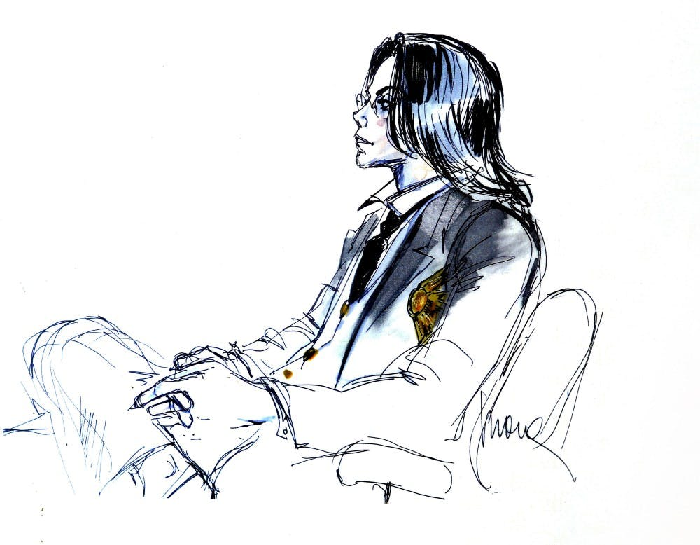 Michael Jackson is depicted in a sketch by Mona Shafer Edwards during his 2005 child molestation trial in Santa Maria, Calif. (Mel Melcon/Los Angeles Times/TNS)