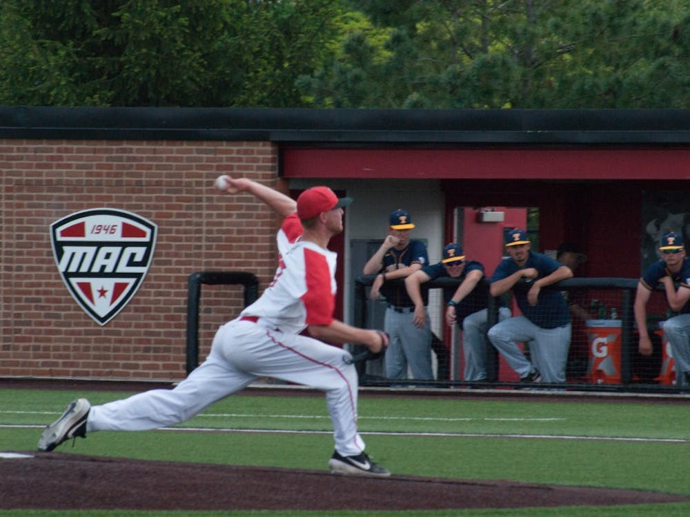 Lukas Jaksich pitches in the Cardinal's final home game against the Toledo Rockets on May 18, 2019. Ball State won both the game and the series qualifying for a first-round bye in next week's MAC Championship. Blake Chapman, DN
