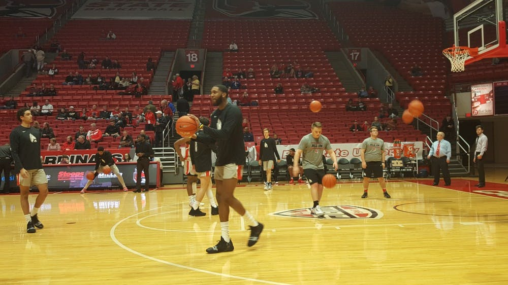 <p>Ball State Men's Basketball players warm up before their game Dec. 20 against Howard in Worthen Arena. The Cardinals went on to win the game 98-71. <strong>Zach Piatt, DN</strong></p>