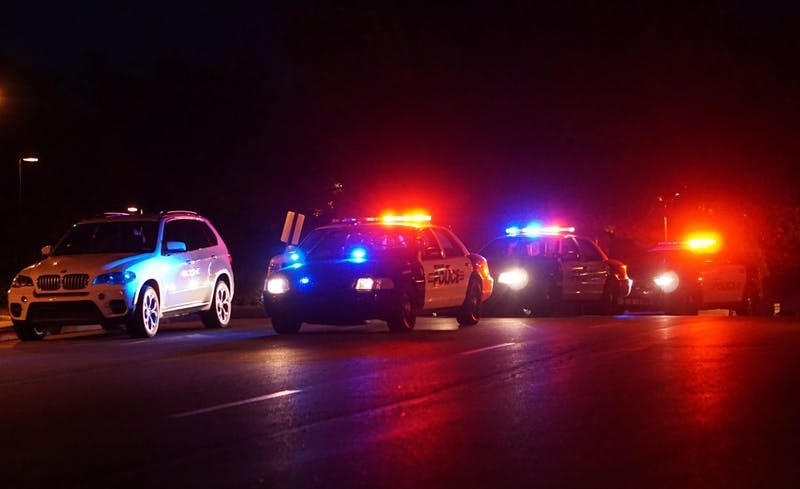 "Police vehicles respond to a gunman reported near DeHority and Woodworth complexes Sept. 1, 2016. A survey states 56 percent of Hoosiers were at least ""somewhat worried"" about a shooting occurring in their local school. Bradley Jones, DN File"