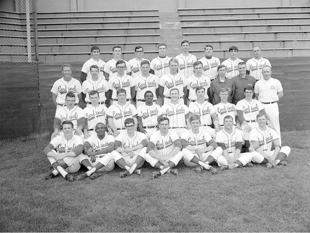 Ball State's 1969 Varsity baseball team poses for a team photo April 17, 1969. This team would go on to the District 4 Regionals, just two wins away from going to the NCAA College World Series in Omaha, Nebraska, making them one of Ball State Baseball's most successful teams. Digital Media Repository, Photo Courtesy