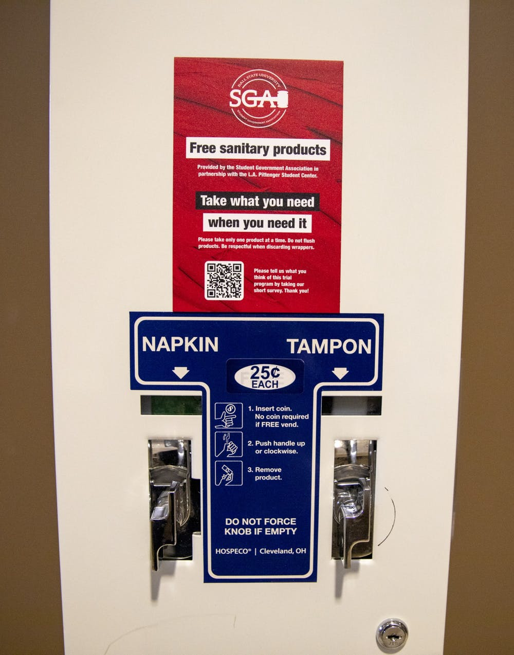 <p>A menstrual product dispenser sits in one of the student center women's bathrooms March 22, 2021. Chief Administrator Gina Esposito has envisioned the free menstrual product program since Bold slate began campaigning. <strong>Jaden Whiteman, DN</strong></p>