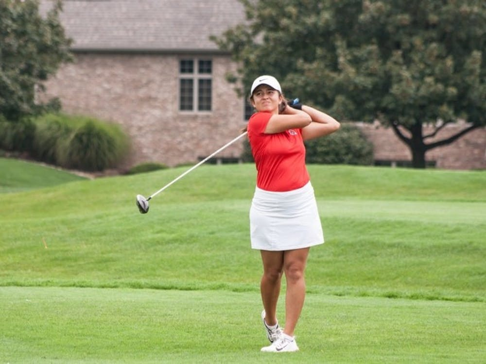 Women's golf sophomore Manon Tounalom tees off at hole nine during the Cardinal Classic on Sept. 19 at Players Club Woodland Trails. Kaiti Sullivan, DN File