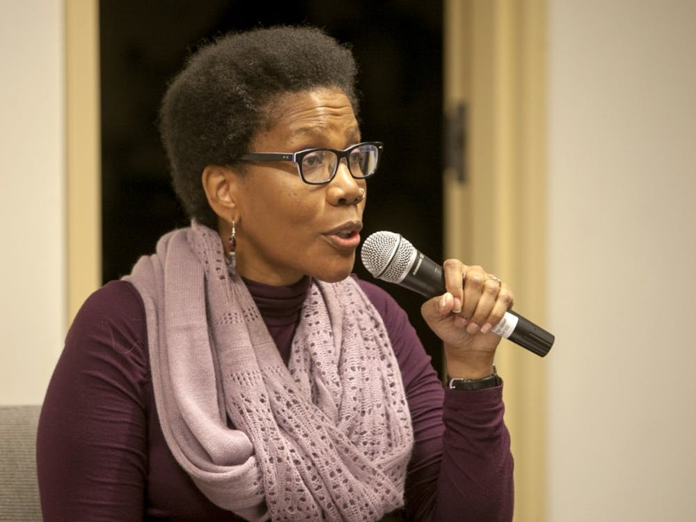 Assistant professor Angela Jackson-Brown speaks to a crowd at her book signing Feb. 3 at Muncie Public Library. Brown is currently writing another novel. DN FILE PHOTO JORDAN HUFFER