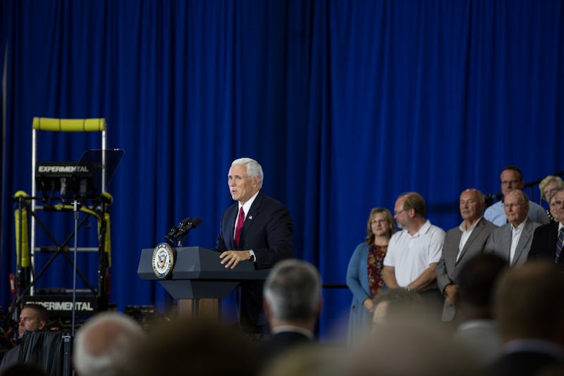 Vice President Mike Pence visits Anderson, Indiana on Sept. 22 to speak about tax and health care reform.
