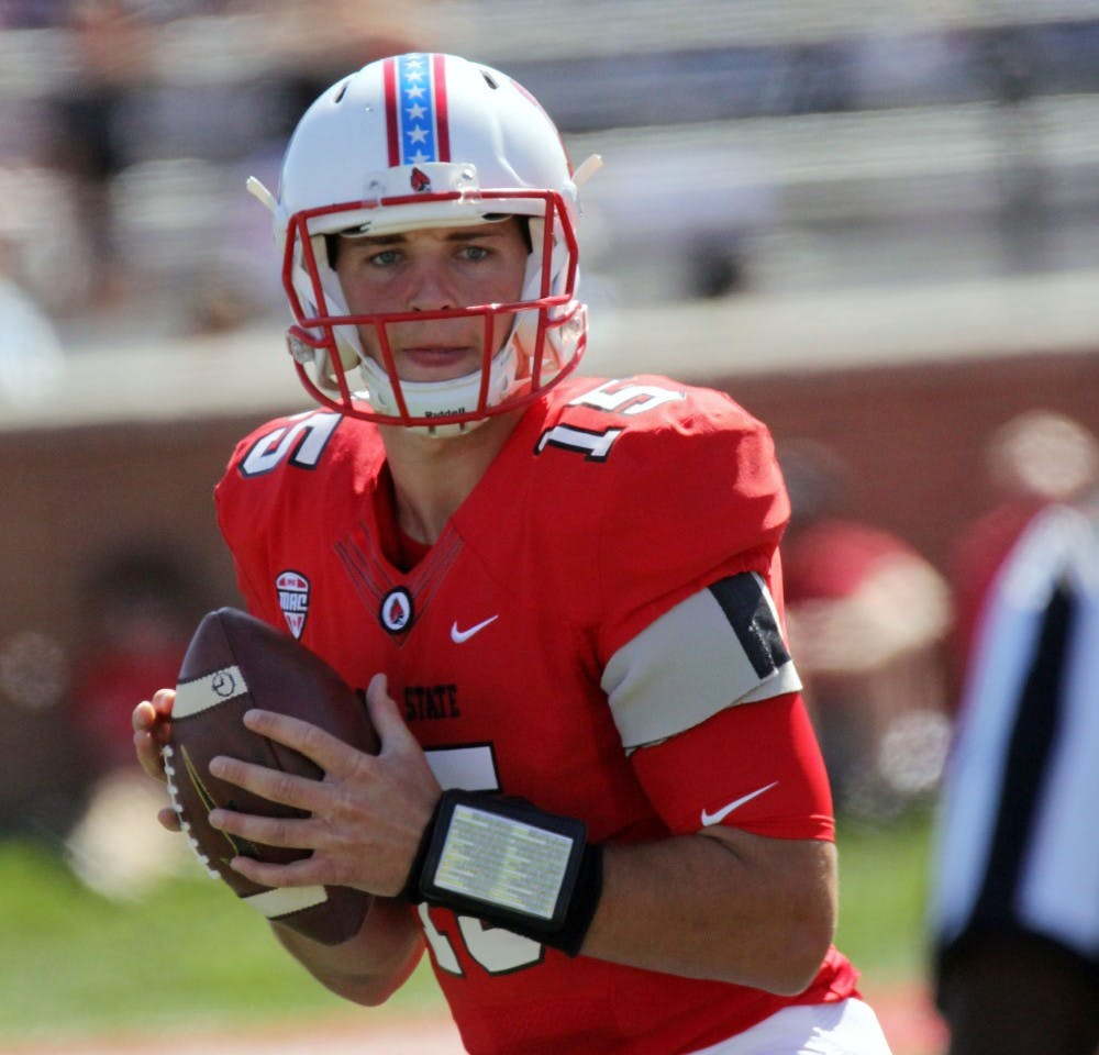 <p>Ball State junior quarterback Riley Neal looks for an open receiver during the Cardinals' game against UAB Sept. 9 at Scheumann Stadium. <strong>Paige Grider, DN File</strong></p>