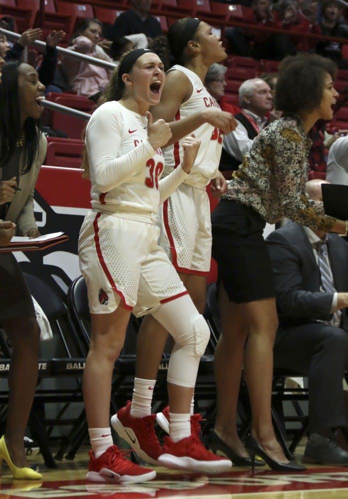 Ball State freshman Anna Clephane celebrates a 3-pointer by senior Jasmin Samz against Cleveland State Nov. 11, 2018, in John E. Worthen Arena. Ball State won 67-62. Paige Grider, DN