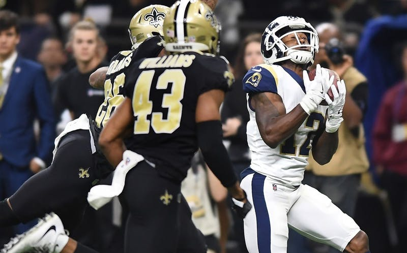 Los Angeles Rams receiver Brandin Cooks makes a catch against the New Orleans Saints in the NFC championship game Jan. 20, 2019, at the Superdome in New Orleans. A controversial no-call late in the game could have costed the Saints a spot in the Super Bowl. (Wally Skalij/Los Angeles Times/TNS)