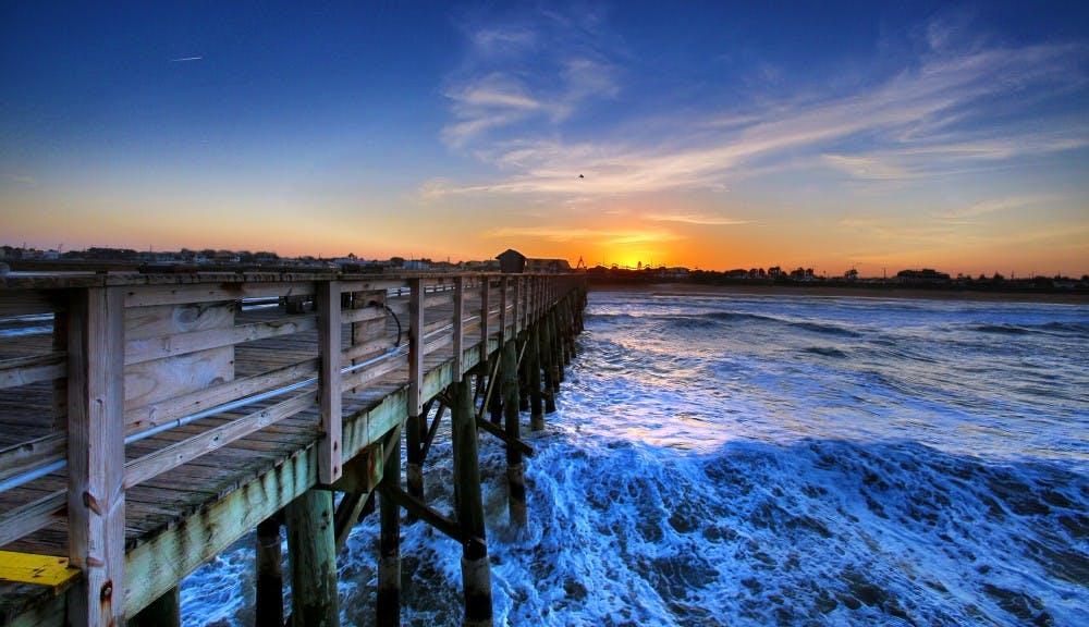 A chilly, windy sunset at the Flagler Beach, Fla., pier on February 6, 2015. (Joe Burbank/Orlando Sentinel/TNS)